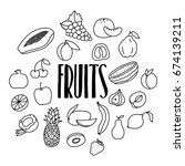 hand drawn doodle fruits icons...   Shutterstock .eps vector #674139211