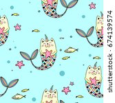 Cat Mermaid Seamless Pattern O...