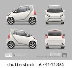 hi detailed white micro car  ... | Shutterstock .eps vector #674141365