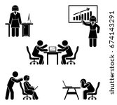 stick figure office poses set.... | Shutterstock .eps vector #674143291