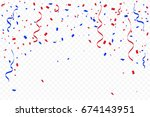 red and blue confetti and... | Shutterstock .eps vector #674143951
