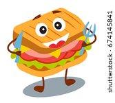 funny  cute fast food sandwich...   Shutterstock .eps vector #674145841