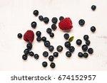 blueberriy and raspberry | Shutterstock . vector #674152957