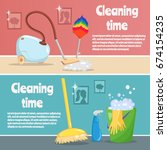 cleaning tools and equipment... | Shutterstock .eps vector #674154235