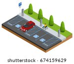 isometric car in the parking... | Shutterstock .eps vector #674159629
