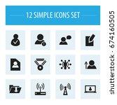 set of 12 editable global icons....