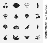set of 16 editable fruits icons.... | Shutterstock .eps vector #674160961