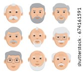 set of old men face icons.... | Shutterstock .eps vector #674161591