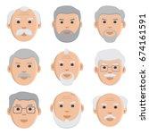 flat set of old men  avatar ...   Shutterstock .eps vector #674161591