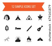 set of 12 editable camping...