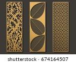 laser cut template panels set.... | Shutterstock .eps vector #674164507