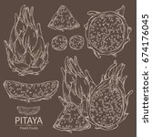 collection of pitaya fruit ... | Shutterstock .eps vector #674176045