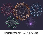 firework on night background ... | Shutterstock .eps vector #674177005