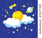 cartoon full moon and clouds in ... | Shutterstock .eps vector #674177359