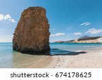 sea beach in milos island ... | Shutterstock . vector #674178625