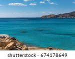 sea beach in milos island ... | Shutterstock . vector #674178649
