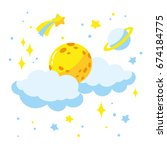 cartoon full moon and clouds in ...   Shutterstock .eps vector #674184775