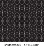 seamless 3d wireframe cube... | Shutterstock .eps vector #674186884
