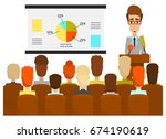 vector illustration of lecturer ... | Shutterstock .eps vector #674190619