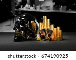 stacks of gold coins with shiny ... | Shutterstock . vector #674190925