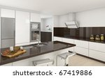 interior design of a modern kitchen in white and brown colors - stock photo