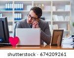 businessman in saint valentine... | Shutterstock . vector #674209261