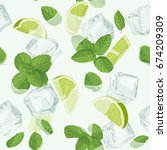 mojito cocktail seamless... | Shutterstock .eps vector #674209309