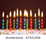 Birthday Candles On Brown...