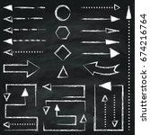 set of different chalk arrows... | Shutterstock .eps vector #674216764