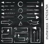 set of different chalk arrows... | Shutterstock .eps vector #674216764
