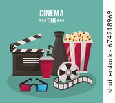colorful poster of cinema time... | Shutterstock .eps vector #674218969
