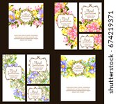 invitation with floral... | Shutterstock .eps vector #674219371