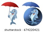 funny dolphin with umbrella. on ... | Shutterstock .eps vector #674220421