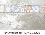old paving tiles pattern on the ...   Shutterstock . vector #674222221