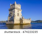 famous belem tower in the city... | Shutterstock . vector #674223235