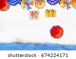 painting watercolor seascape...   Shutterstock . vector #674224171