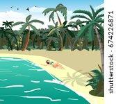 sea landscape summer tropical...   Shutterstock . vector #674226871