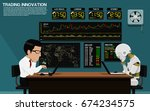 businessman and robot are... | Shutterstock .eps vector #674234575