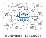 usb 3.0 elements vector... | Shutterstock .eps vector #674235379