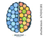 human brain map concept card...   Shutterstock .eps vector #674241181