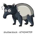 anteater with dizzy face... | Shutterstock .eps vector #674244709