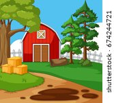 farm scene with barn and trees...
