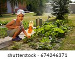 the child puts the scarecrow ... | Shutterstock . vector #674246371
