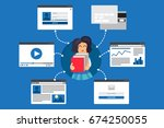 web life of reading child with... | Shutterstock .eps vector #674250055
