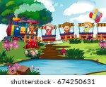 happy children on the train...   Shutterstock .eps vector #674250631