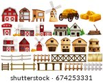 farm elements on white | Shutterstock .eps vector #674253331
