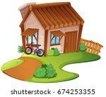 wooden house on the hill... | Shutterstock .eps vector #674253355