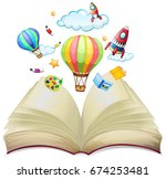 balloons and rockets in the... | Shutterstock .eps vector #674253481