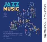 jazz band vector | Shutterstock .eps vector #674254534