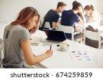 interior design student filling ... | Shutterstock . vector #674259859